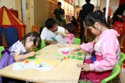 Kids occupied with crafts at the fair