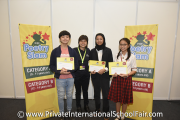 The winners of the PISF Poetry Slam 2018 (Category B) - From left: Valentino Tew, Ms Nickie Yew (Co-founder and Director of Mint Communications), Zaynab Ahmed El-Hawat and Teioh Nuan Ning