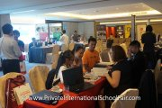 Visitors finding out more about international school education at the fair