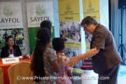 Sayfol's headmistress greeting visitors