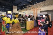 Visitors at the Dwi Emas International School booth