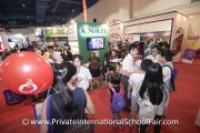 The crowd at Kingsley International School's booth