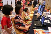A school rep demonstrates one of the learning software
