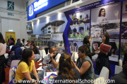 Visitors at Westlake International School's booth